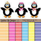 Penguins Bundled Up with Scarves and Hats Clip Art & Strip
