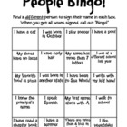 People Bingo (beginning of the year)