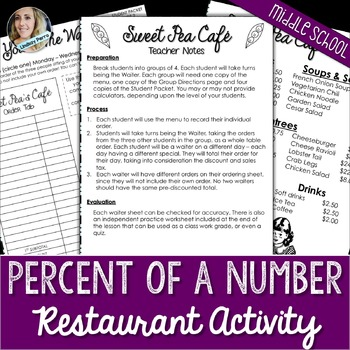Percent of a Number Restaurant Activity