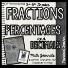 Percentages, Fractions, and Decimals Math Journal