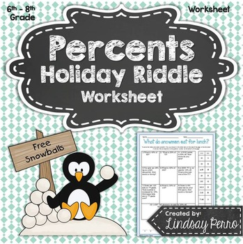 Percents Holiday Riddle Worksheet