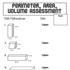 Perimeter, Area, Volume Assessment