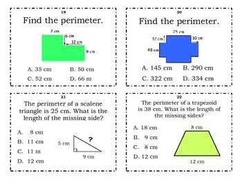 Perimeter Task Cards (3 sets of 25)