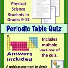 Periodic Table Quiz for High School Chemistry / Physical Science