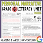 Personal Narrative Reading & Writing Unit: Grade 6...40 Lesson!!!