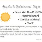 Personal Word Wall Chart - Grade 3 Sight Words, Hundred Ch