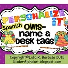 Personalize it! Whootie Owls theme Name and Desk Tags {SPANISH}