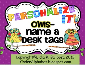 Personalize it! Whootie Owls theme Name and Desk Tags