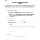 Persuasion: Supporting an Opinion Practice Sheet