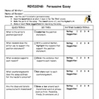 Persuasive Essay - Revision Worksheet