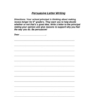 Persuasive Letter Writing with Rubric