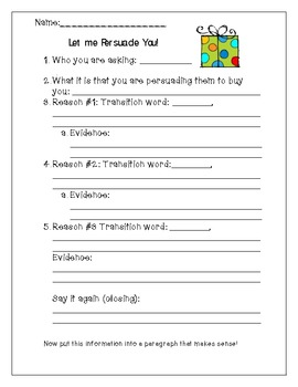 Persuasive Writing For a Present -Graphic Organizer & Final Copy