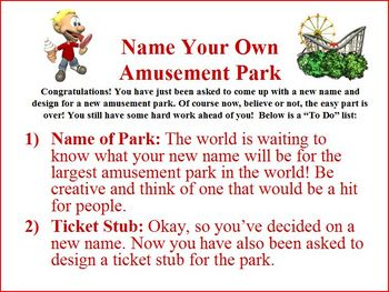Persuasive letter writing project: create own amusement park