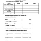 Phases of Matter worksheet