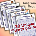 Phonics Bingo - Complete Set - Long - Includes A, E, I, O, U