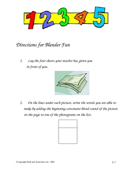Phonics:  Blender Fun/Consonant Blends (English and Spanish)