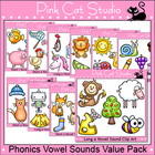 Phonics Clip Art Vowel Sounds Value Pack - Personal or Com