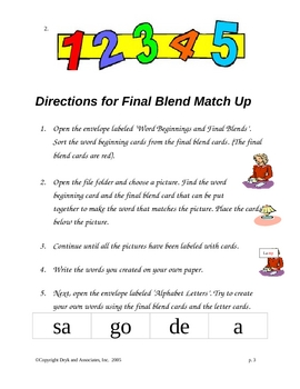 Phonics:  Final Blend Match-Up