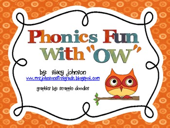 Phonics  Fun with Vowel Pattern OW {FREE}