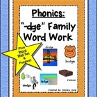 "Phonics: ""-dge"" Family Word Work--word wall set included!"