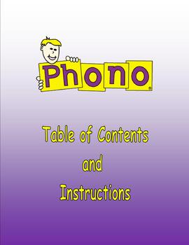 Phono Phonics Table of Contents for Reading and Spelling Book