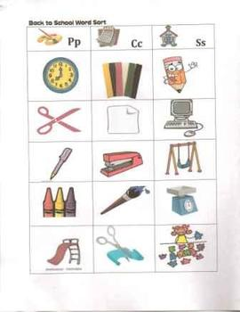 Phonological Awareness: Back to School Word Sort for Emerg