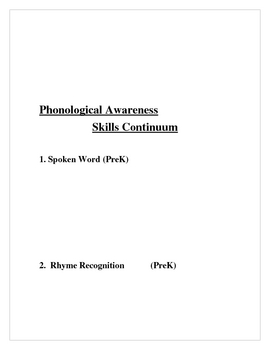 Phonological Awareness Skills Flow Chart