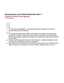 Photosynthesis and Cellular Respiration Quiz 1