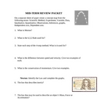 Physical Science Midterm Review Worksheet