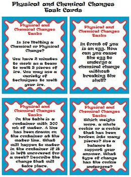 Physical and Chemical Changes *Quiz, Activity Cards, & Stu