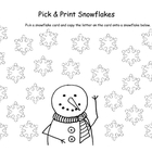 Pick and Print snowflake letters for preschool and kindergarten