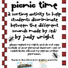 Picnic Time!  The Three Sounds of Suffix ed
