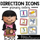 Picture Direction Icons {primary polka dots & chevron print}