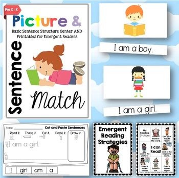 Picture & Sentence Match Center + Printables for Emergent Readers