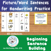 Picture Word Sentences for Handwriting Practice in Centers.