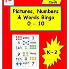 Pictures, Numbers & Words 0 - 10 Math Bingo