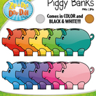 Piggy Bank Clipart — Includes 9 Graphics!