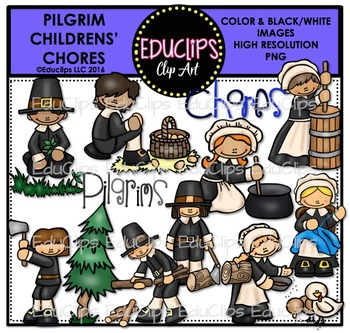 Pilgrim Children - Chores Clip Art Bundle