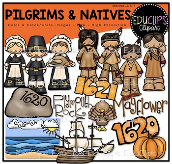 Pilgrims and Natives Clip Art Bundle