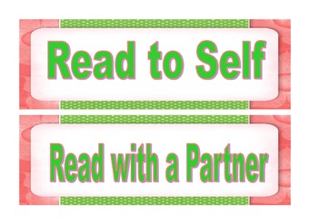 Pink & Green Reading Labels