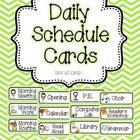 Pink and Green Chevron Daily Schedule Cards- With and With