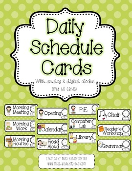 Pink and Green Polka Dot Daily Schedule Cards- With and Wi