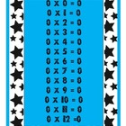 Pink, blue, zebra, and stars Multiplication posters