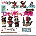 Pirate LINE ART bundle by melonheadz