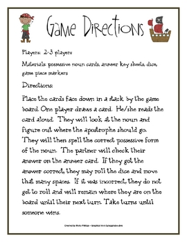Pirate Possessive Noun Game