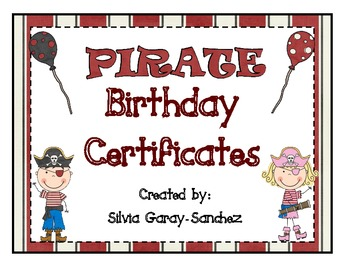 Pirate Themed Birthday Certificates