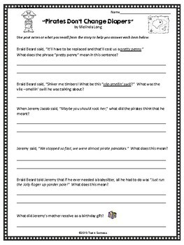 Pirates Don't Change Diapers Language Arts Activities Printable
