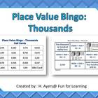 Place Value Bingo - Thousands