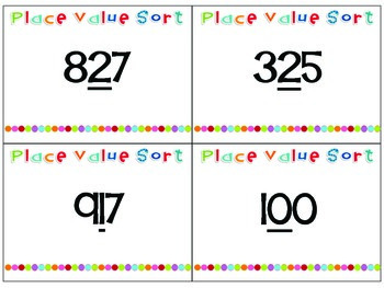 Place Value Card Sort for Work Stations