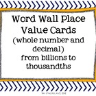 Place Value Cards from Billions to Thousandths